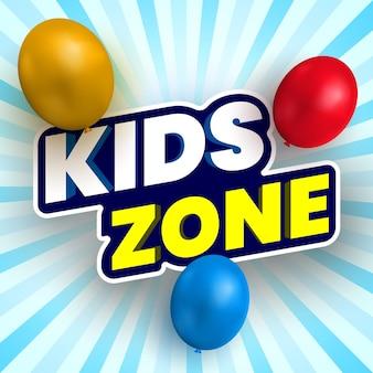 Kinderzonenbanner mit bunten luftballons.