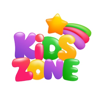 Kinderzonenzeichen 3d karikaturtext mit stern und regenbogen
