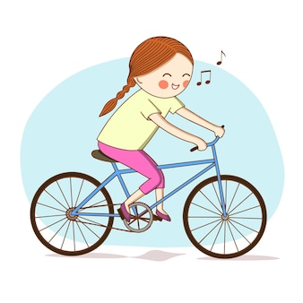Kindheit. glückliches mädchen fährt fahrrad und singt ein lied.