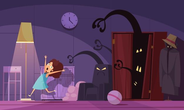 Kindheits-albträume mit monstern und dunkelheitssymbolen