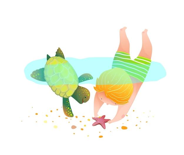 Kindheitsfreude des tauchens mit der wilden wasserschildkröte, des kindes, das mit tier spielt und schwimmt.