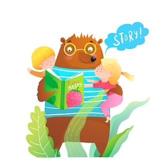 Kindheitsillustration mit bär, der märchenbuch zu kleinem jungen und mädchen liest.