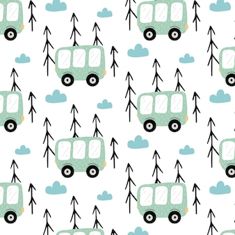 Kindisch handgezeichnetes nahtloses muster mit bus muster mit grünem bus