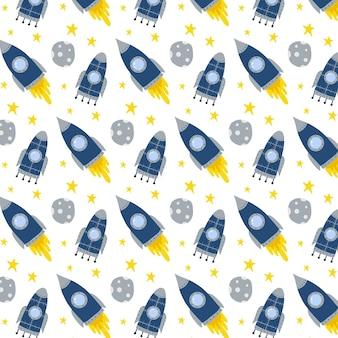 Kindisch handgezeichnetes nahtloses muster mit rakete rakete und sternenmuster