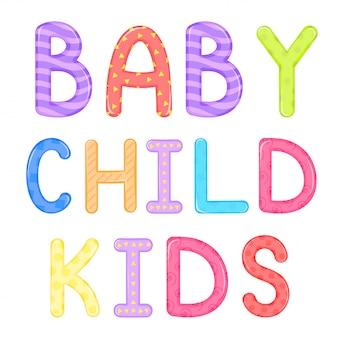 Kindisch schriftzug baby kind kinder vektorgrafiken