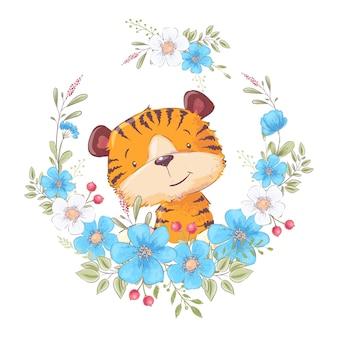 Kindische illustration des netten kleinen tigers in einem kranz von blumen. handzeichnung. vektor