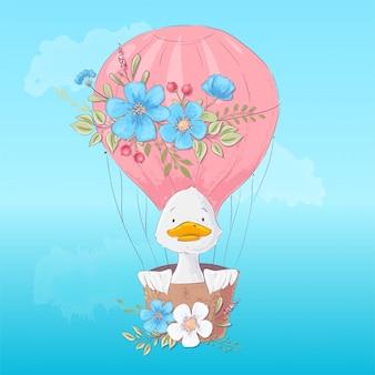 Kindische illustration eines netten entleins in einem ballon mit blumen in der karikaturart. handzeichnung.
