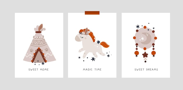 Kindische meilensteinkarten im boho-stil mit niedlichem ponypferd und wigwam