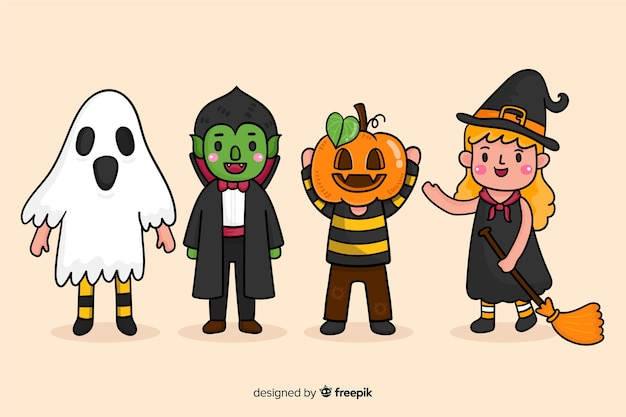 Kindische zeichnungen von halloween-charakteren