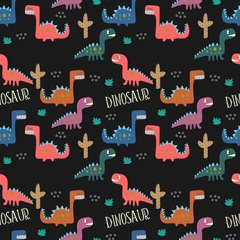 Kindischer dinosaurier, der nahtlosen musterhintergrund zeichnet.