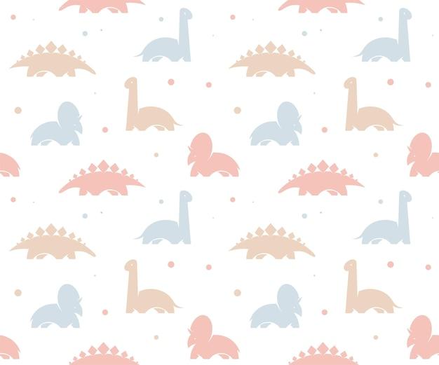 Kindisches dinosaurier nahtloses muster für modekleidung, stoff, t-shirts. kinder-vektor-hintergrund. rosa dino.