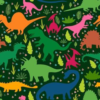 Kindisches muster mit silhouetten eines niedlichen dinosauriers
