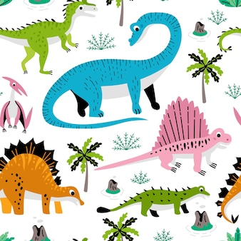 Kindisches nahtloses muster mit hand gezeichnetem dino-gewebe stockillustration