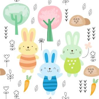 Kindisches nahtloses muster mit nettem kaninchen