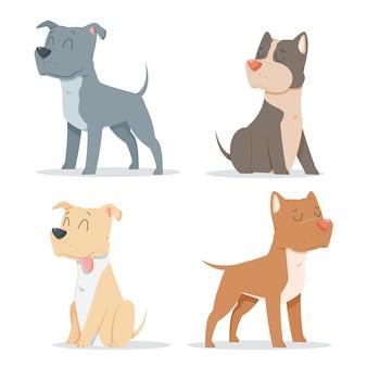 Kindliche karikatur pitbull pack