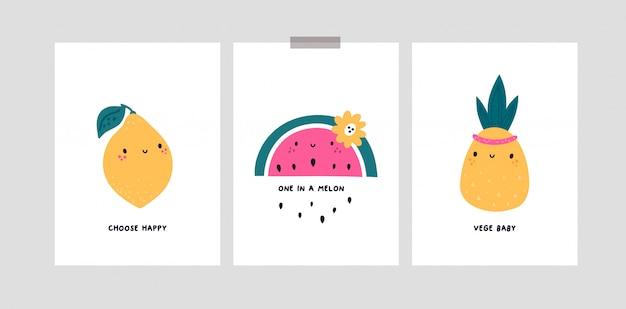 Kindliche karten mit niedlichen karikaturfruchtcharakteren. zitrone, wassermelone