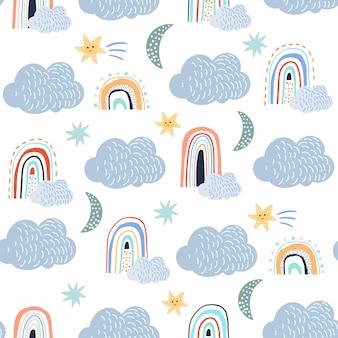 Kindliche nahtlose muster eingestellt mit wolken, weißer hintergrund