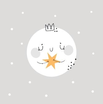 Kindliche niedliche baby-mondprinzessin. schlafenszeit, gute nacht drucken
