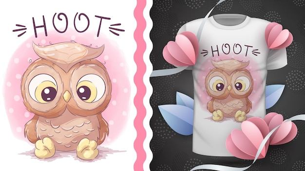 Kindliche zeichentrickfigur tier vogel vogel eule idee für druck t-shirt