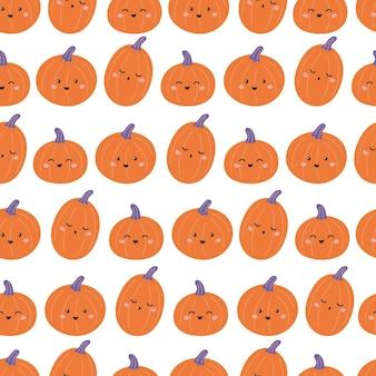 Kindliches nahtloses halloween-muster mit lustigen kürbissen. kawaii zeichentrickfiguren.