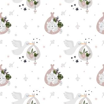 Kindliches nahtloses muster für neugeborenes mädchen oder jungen. muster mit storch und tierbaby