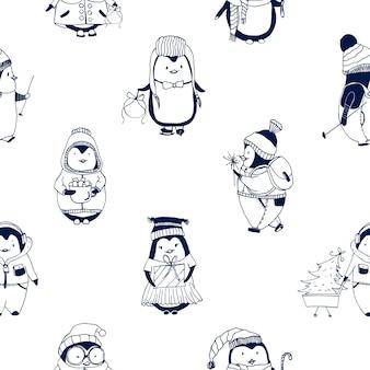 Kindliches nahtloses muster mit niedlichen kleinen babypinguinen, gekleidet in winteroberbekleidung