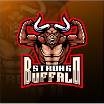 King buffalo esport maskottchen-logo