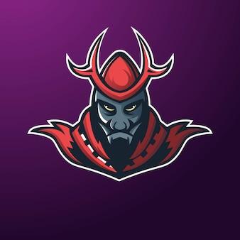 King devil athletic club logo-konzept lokalisiert auf dunklem hintergrund für abzeichen, emblem und t-shirt druck. modernes sportteam-maskottchenabzeichen-design.
