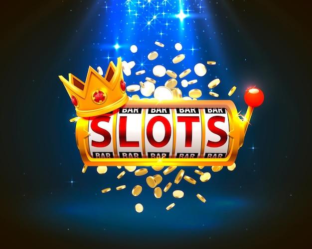 King slots 777 banner casino auf blauem hintergrund. vektor-illustration
