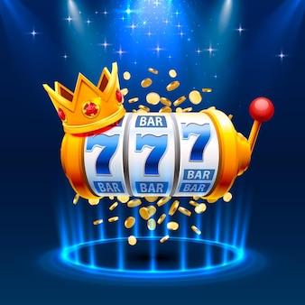King slots 777 banner casino auf dem blauen hintergrund.