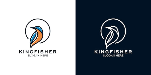 Kingfisher line art logo design vorlage