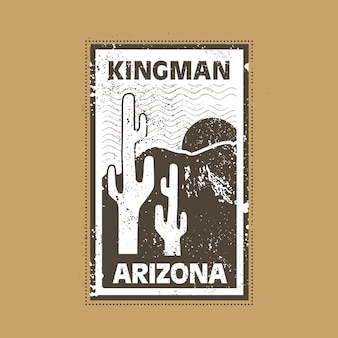 Kingman arizona stempelabzeichen illustration mit klassischem vintage-design