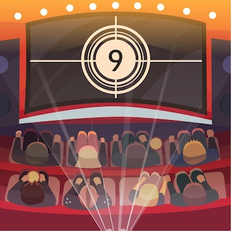 Kino-auditorium mit leinwand und sitzplätzen.
