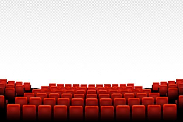 Kino-auditorium mit roten sitzen