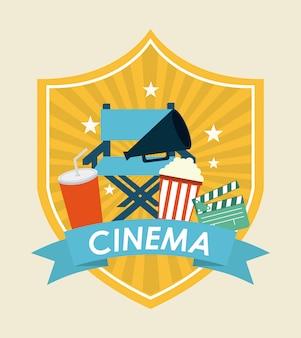 Kino auf weißem hintergrund