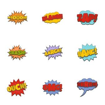 Kino banner icons set. karikatursatz von 9 kinofahnen-vektorikonen