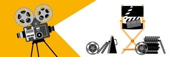 Kino Banner Retro Film Projektor Streifen Film