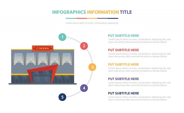 Kino, das infographic schablonenkonzept mit der liste mit fünf punkten und verschiedener farbe errichtet