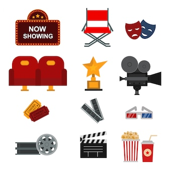 Kino-elementsatz Premium Vektoren