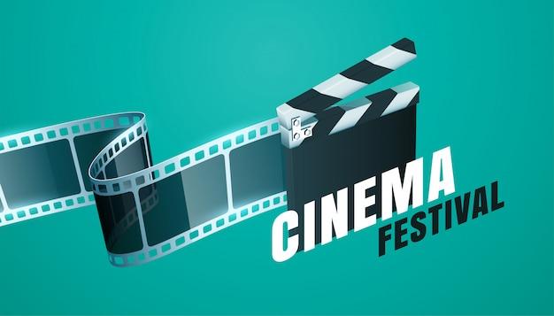 Kino film festival hintergrund mit offenem clapper board design