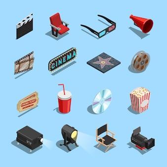 Kino-film-zubehör-isometrische ikonen-sammlung