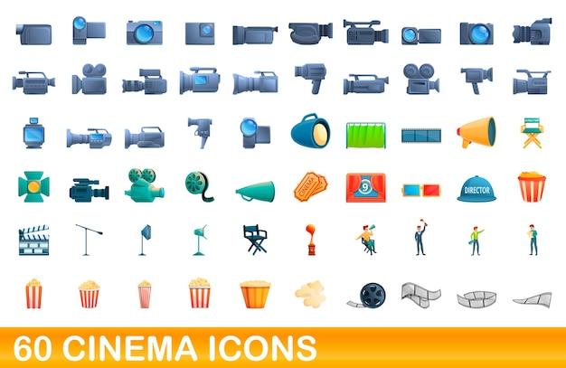 Kino-icons eingestellt. karikaturillustration von kinoikonen gesetzt auf weißem hintergrund