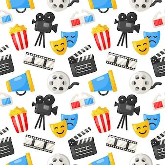 Kino icons muster nahtlos. zeichen und symbole sammlungssymbol