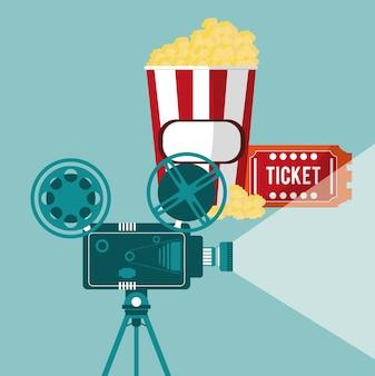 Kino kamera filmprojektor ticket und popcorn