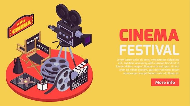Kino mit isometrie der professionellen illustration