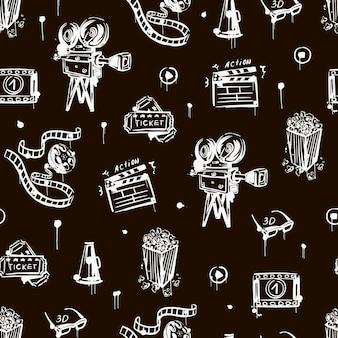 Kino nahtlose muster mit vintage-kamera popcorn-klappe 3d-brille schwarz und weiß