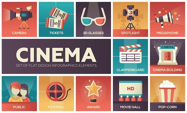 Kino - satz moderne flache designikonen des vektors mit steigungsfarben. filmproduktionssymbole 3d-brille, film, popcorn, kamera, auszeichnung, ticket, halle, filmklappe, rolle, megaphon, öffentlichkeit