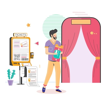 Kino-self-service-terminal mann kauft kinokarte am self-service-kiosk flachbild vector illustration ...