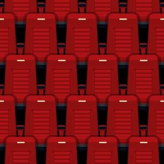 Kino setzt nahtloses muster. theater und auditorium, unterhaltung und rot, reihe und interieur.