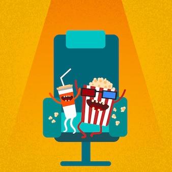Kino Stuhl Film Film Sitz Comic Cola Popcorn
